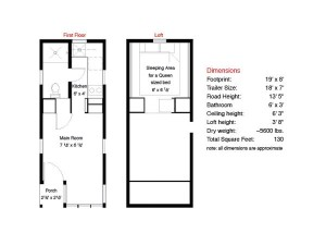 Fencl Tiny House FloorplansCourtesy of Tumbleweed Tiny House Co.