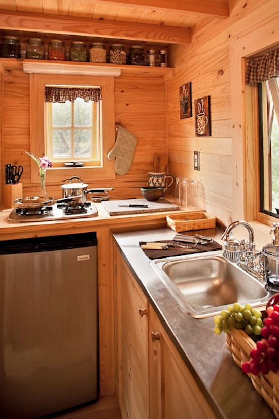 Tiny house kitchen at the lodge thinkfwd for Kitchen design for small house