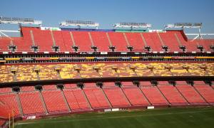 Inside the empty stadium. Even the seats bleed burgundy and gold! (Photo: Clara Pak)
